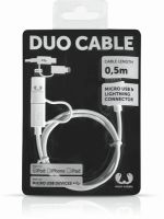 Fresh´N Rebel Duo Cable Apple Lightning + USB Micro - 50cm