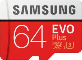 Samsung EVO Plus 64GB microSDXC Card 100MB/s + SD-Adapter